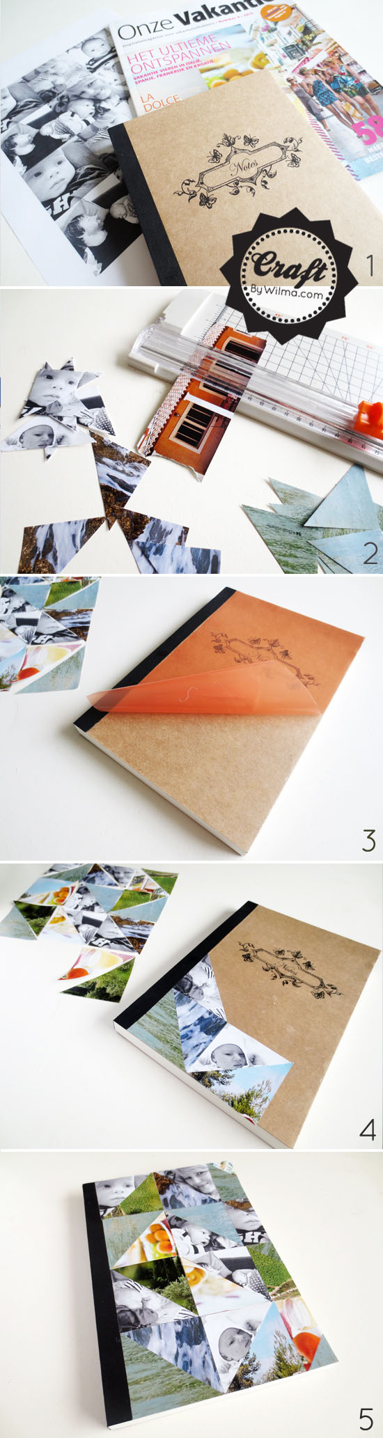 DIY notebook with a triangle photo cover