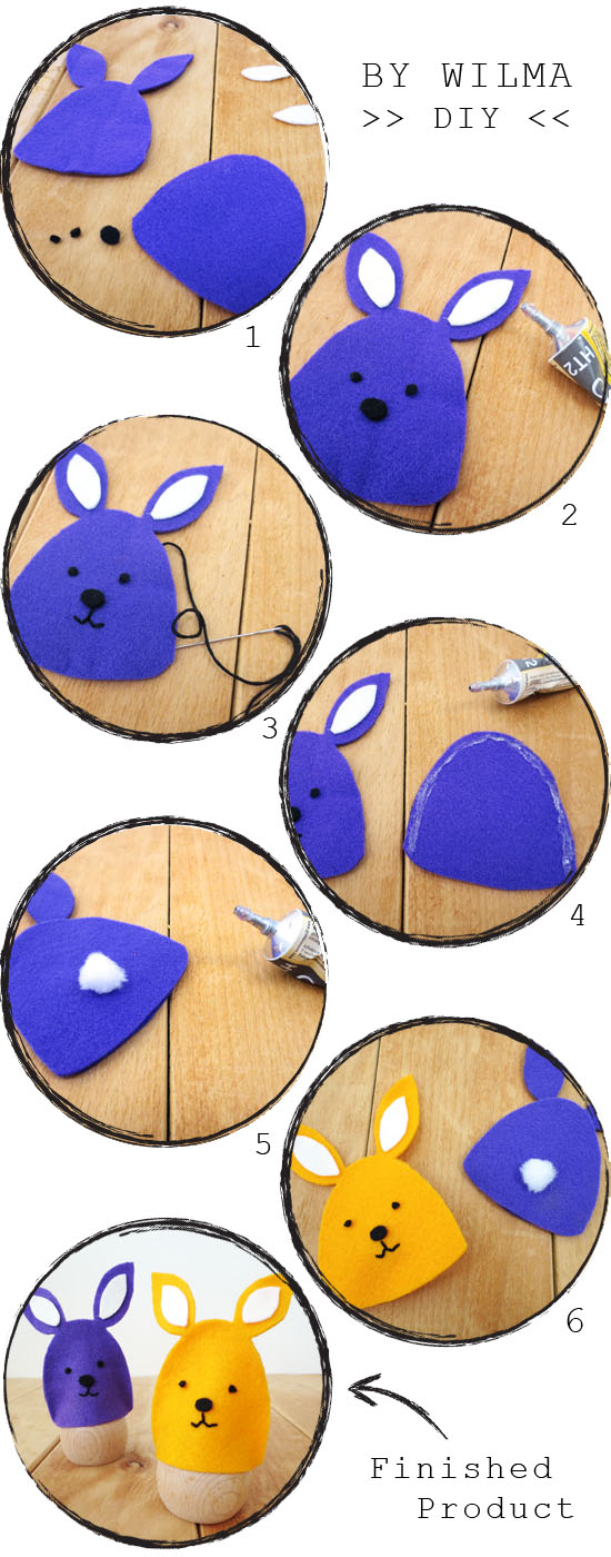 DIY - No sew Easter bunny egg cozies. Including pdf pattern and step by step  instructions.