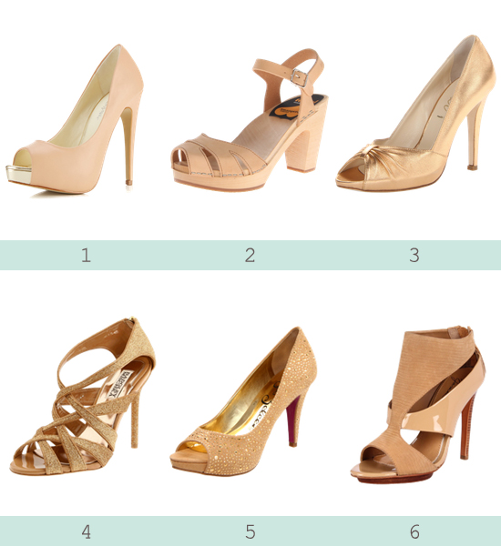 Love this: Gold and neutral heels