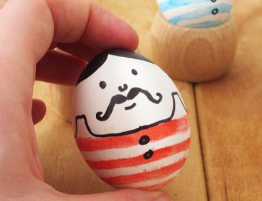 DIY - Mustache men eggs for Easter (inspired by vintage wrestler pictures)