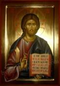 Iisus Hristos Pantocrator icoana pictata pe lemn de vanzare