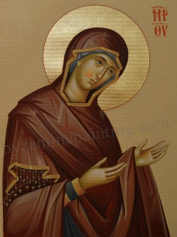 Mother of God byzantine Icon pained