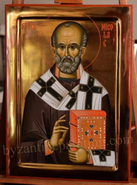 Sfantul Nicolae icoana pictata si poleita cu bolos (3)