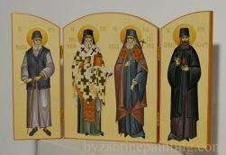 Triptic - Saint Paisios of Mount Athos, Saint Nektarios of Aegina, Saint Luke of Crimea, Saint Ephraim of Nea Makri