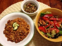 Pinto Beans and Rice with Microgreen Salad and toasted Pecans and Sunflower Seeds