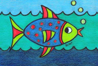 colorful contemporary exotic fish drawing prismacolor
