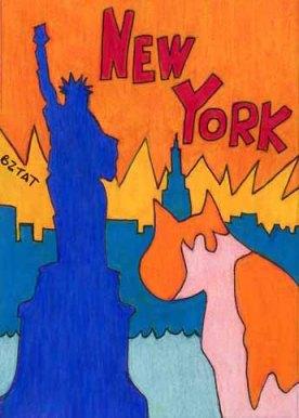 Brewskie-Butt-ginger-white-cat-drawing-New-York-skyline