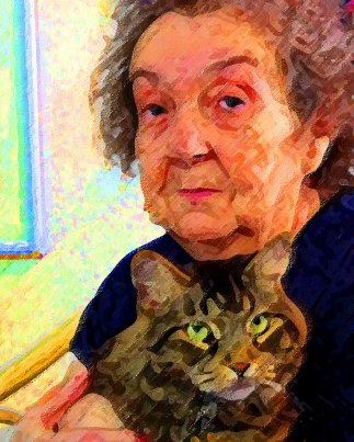 Woman and cat Alzheimers art