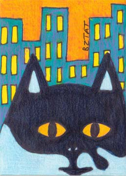 Black-white-tuxedo-Cat-drawing-ACEO-BZTAT