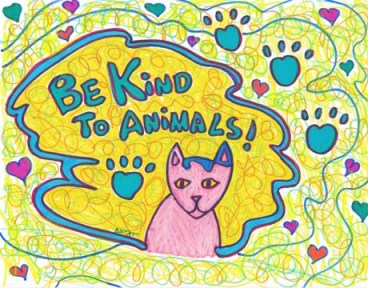 Be kind to animals drawing