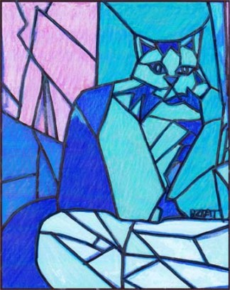 Cat drawing for stained glass design by BZTAT