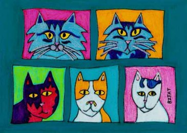 Fabulous 5 cats drawing by BZTAT