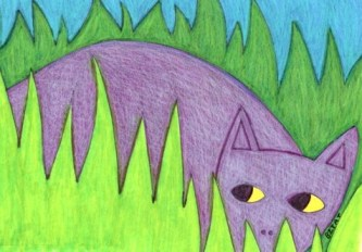 Gray feral cat drawing by BZTAT