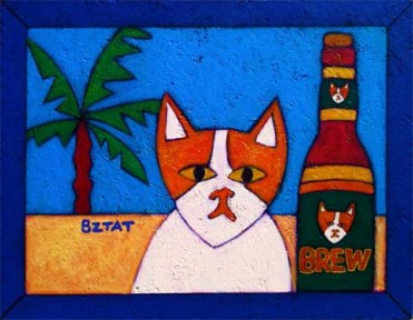 Brewskie Butt cat painting