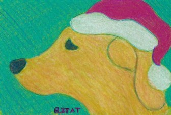 Santa dog drawing BZTAT