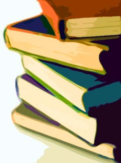 digital drawing of hardcover books