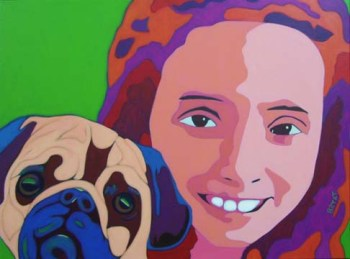 Girl with Pug Dog Portrait Painting by BZTAT
