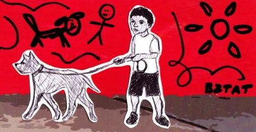 Public Art Mural of a Boy and a Dog