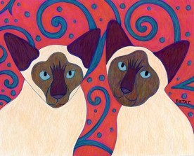 Siamese cat portrait drawing by artist BZTAT