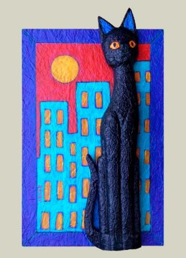 Black Cat in the City Painting and Assemblage by Artist BZTAT