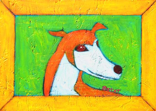 Greyhound dog portrait painting by BZTAT