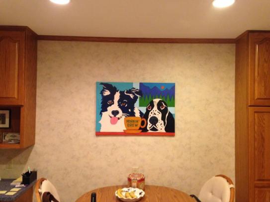 Border collie Springer spainiel contemporary pet portrait installed