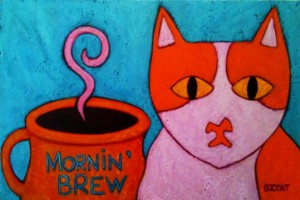 Brewskie butt cat coffee cup whimsical painting by Artist BZTAT