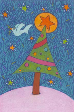 6. Holiday Christmas Tree and Dove Drawing (Greeting Inside: Peace on Earth.)