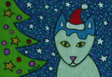 3. Holiday Cat Drawing (Greeting Inside: Meowy Christmas!)