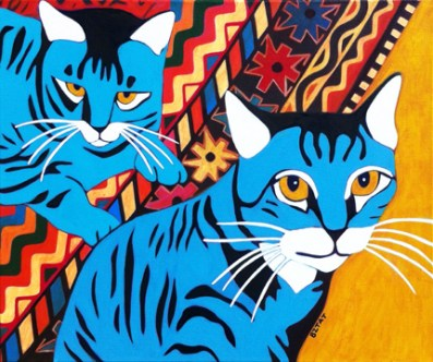 Two Tabby Cats on Patterned Persian Rug Portrait Painting by BZTAT