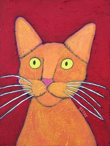 Orange Cat Contemporary Folk Art Portrait Painting by Artist BZTAT