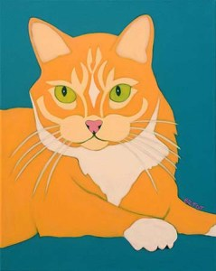 Yellow Tabby Cat Portrait Painting by Artist BZTAT