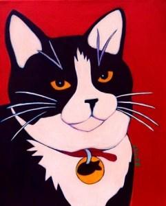 Black and White Tuxedo Cat Contemporary Premiere Style Pet Portrait Painting by Artist BZTAT