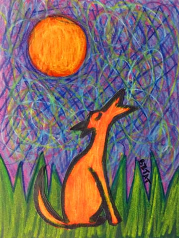 """""""Howling at the Moon"""" Dog drawing by BZTAT"""
