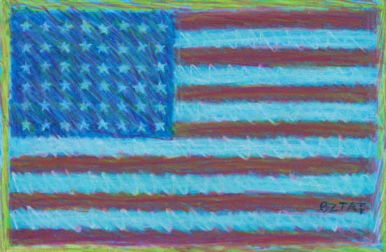 """""""Service Above Self"""" American Flag Drawing by BZTAT"""