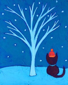 """Mia Meow's First Snow of the Season""Painting by BZTAT"