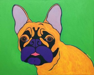 French bulldog contemporary dog portrait painting by BZTAT