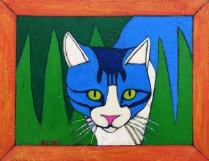 Custom Contemporary Folk Art Style Cat Portrait by BZTAT
