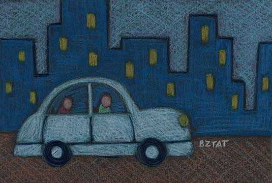 Car driving rideshare drawing by BZTAT