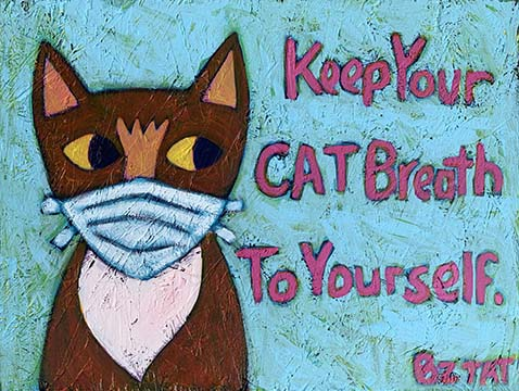 MIA MEOW Cat Mask painting-whimsical-BZTAT
