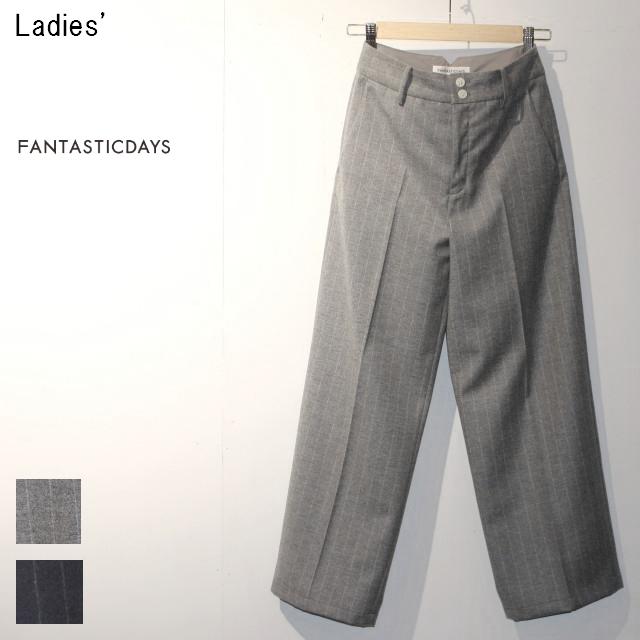FANTASTICDAYS ウールワイドパンツ HUGE-63-02 (GRAY STRIPE)