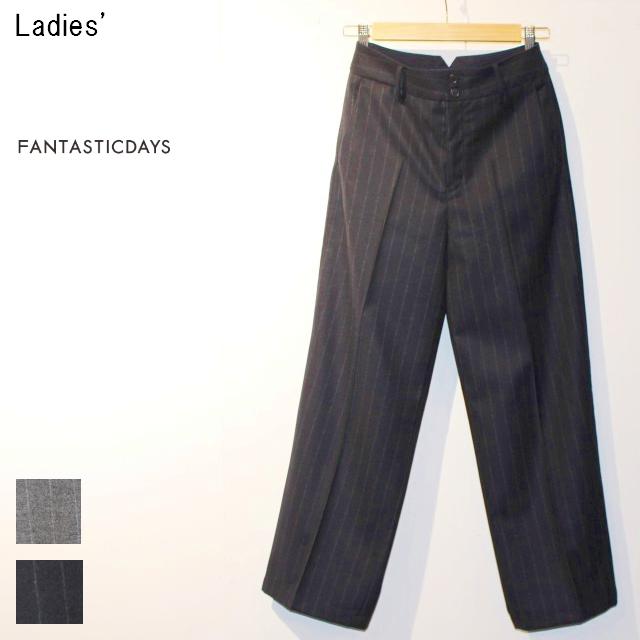 FANTASTICDAYS ウールワイドパンツ HUGE-63-02 (NAVY STRIPE)