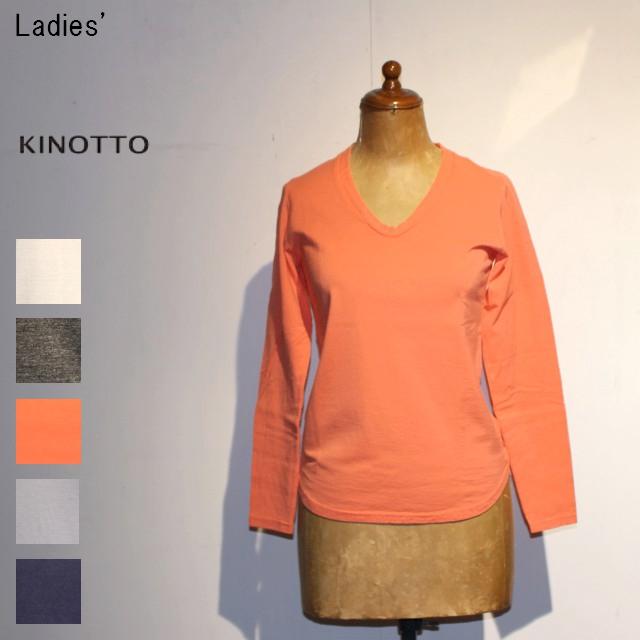 KINOTTO UネックTシャツ長袖 U-Neck T-Shirts 251C-01 (CORAL PINK)