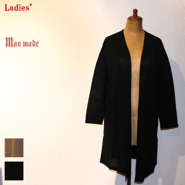 maomade リネンコットンロングカーディガン Linen Cotton Long Cardigan 711106 (BLACK)