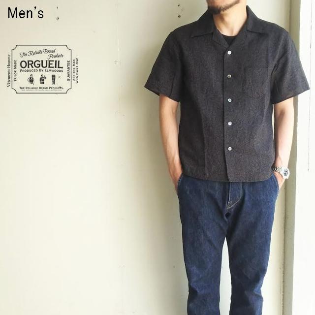 ORGUEIL ペイズリーオープンカラーシャツ Open Collor Shirt OR-5020B (BLACK)