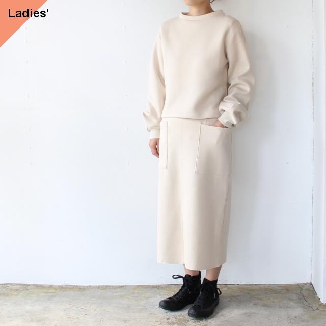 siora カードボードニットセットアップ Cardboard knit setup / Puff sleeve pullover & Midi skirt (エクリュベージュ)