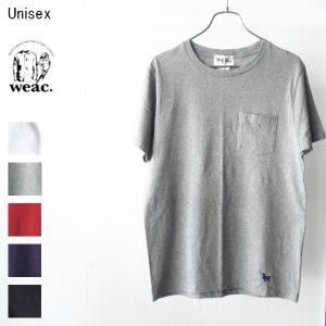 weac. パグ刺繍ポケットTシャツ PUG-T (杢GRAY)
