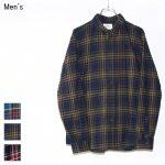 weac. コットンネルチェックシャツ KURUMICHAN (NAVY×YELLOW)