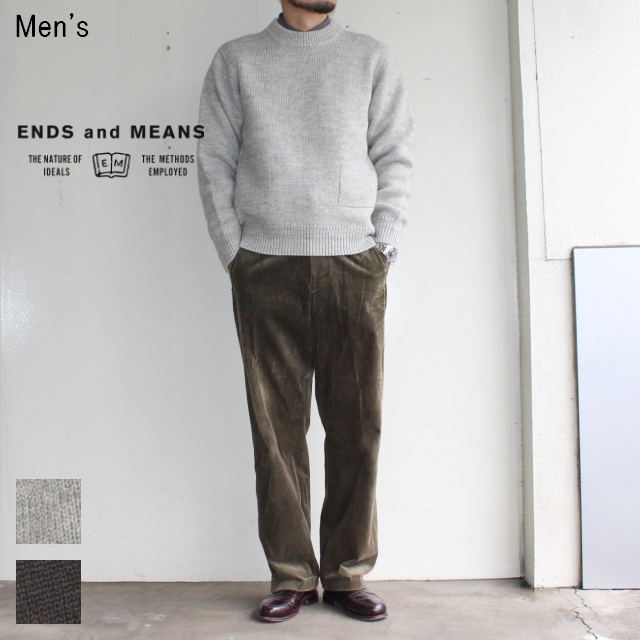 ENDS and MEANS クルーネックニット Grandpa Knit EM172K008 (BEIGE GRAY)