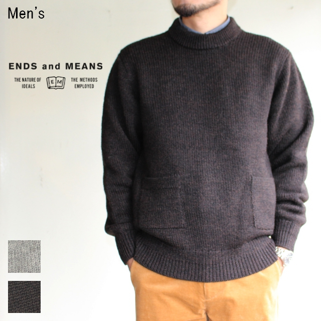 ENDS and MEANS クルーネックニット Grandpa Knit EM172K008 (BROWN BLACK)